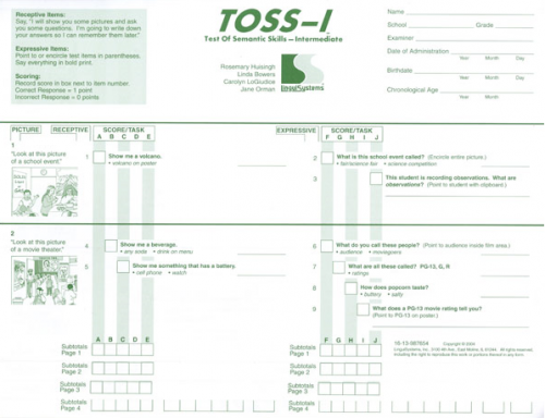 TOSS-I TEST FORMS (20)