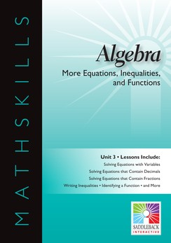 MATHSKILLS / IWB / ALGEBRA / MORE EQUATIONS, INEQUALITIES