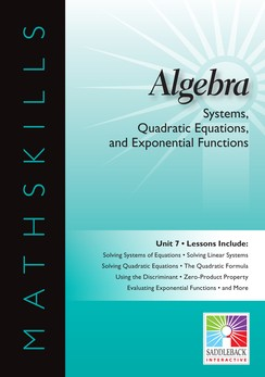 MATHSKILLS / IWB / ALGEBRA / SYSTEMS, QUADRATIC EQUATIONS