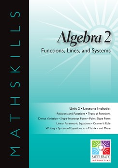 MATHSKILLS / IWB / ALGEBRA 2 / FUNCTIONS, LINES, AND SYSTEMS
